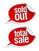 Sold out, total sale stickers. — Stockvektor