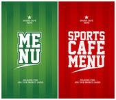 Sports café menymall kort. — Stockvektor