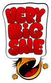 Very Big Sale screaming girl. — Vector de stock