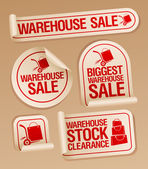 Warehouse sale stickers. — Stock Vector
