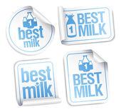 лучшее молоко наклейки. — Cтоковый вектор