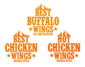 Hot chicken wings signs. — Stock Vector