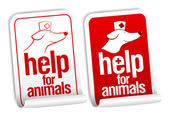 Help for animals stickers. — Stock Vector