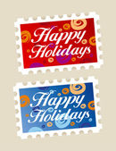 Happy holidays stamps. — Stock Vector