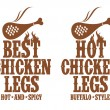 Hot chicken legs signs. — Stock Vector