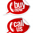 Stock Vector: Call now stickers.