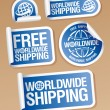 Wektor stockowy : World-wide shipping stickers.