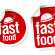 Stock Vector: Fast Food stickers.