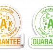 Preservation vitamins and minerals guarantee icons set. — Stock Vector