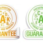 Preservation vitamins and minerals guarantee icons set. — Stock Vector #25534575