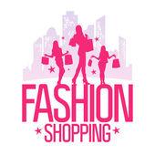 Moda shopping plantilla de diseño con muchachas de la manera. — Vector de stock