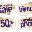Stock Vector: Back to school sale stickers.