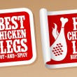 Hot chicken legs stickers. — Stock Vector