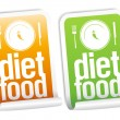 Stock Vector: Diet Food stickers.