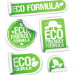 Eco Friendly Formula stickers. — Vettoriale Stock