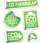 Eco friendly formel klistermärken — Stockvektor