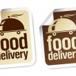 Stock Vector: Food delivery stickers.