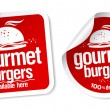 Gourmet burgers stickers. — Stock Vector