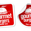 Gourmet burgers stickers. — Stock Vector #27590965