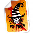Halloween sticker with skull in hat — Imagen vectorial