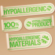 Hypoallergenic products stickers. — Stock Vector #27591171
