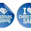 Christmas shopping stickers. — Stock Vector