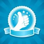 Hand thumbs up emlbem. — Stock Vector