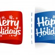 Stock Vector: Happy Holidays labels.