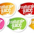 Natural juice stickers. — Stock Vector