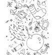 Xmas hand drawn symbols — Stock Vector