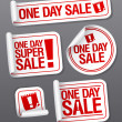 Stock Vector: One Day Sale stickers.