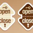 Open and close packing signs. — Imagens vectoriais em stock