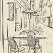 Street cafe sketch illustration. — Vettoriale Stock #27591545