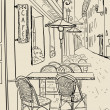 Street cafe sketch illustration. — 图库矢量图片 #27591545