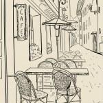 Street cafe sketch illustration. — Stock Vector
