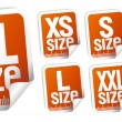 Size clothing stickers — Stock Vector