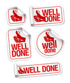 Well done stickers set. — Stock Vector