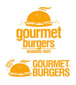 Gourmet burgers available here signs. — Stock Vector