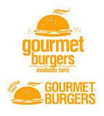Gurme burger mevcut burada belirtileri. — Stok Vektör