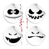 Monster smileys, halloween stickers. — Stock Vector