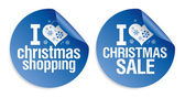 Christmas shopping stickers. — Stock vektor