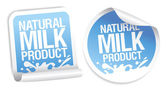 Natural milk product stickers. — 图库矢量图片