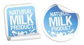 Pegatinas de productos naturales de la leche. — Vector de stock