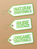 Made with Natural Pure Materials labels. — Stock Vector