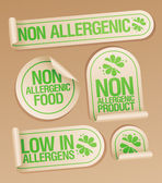 Non allergenic products stickers. — Stock Vector