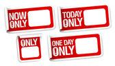 Pas nu stickers met plaats voor prijs. — Stockvector
