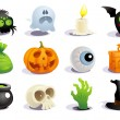 Stock Vector: Halloween symbols.