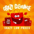 Stock Vector: Crazy clearance design with bags