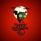 Halloween card with a bat. — Stock Vector