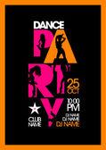 Dance party design med mode flickor. — Stockvektor